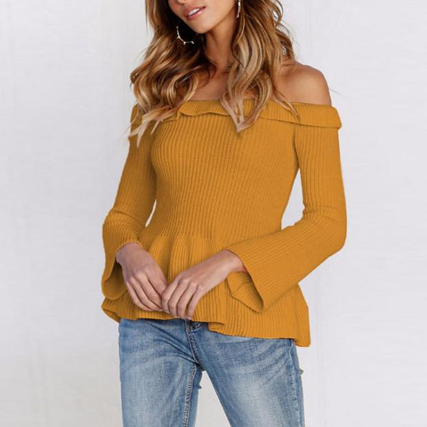 Off Shoulder  Plain  Bell Sleeve T-Shirts