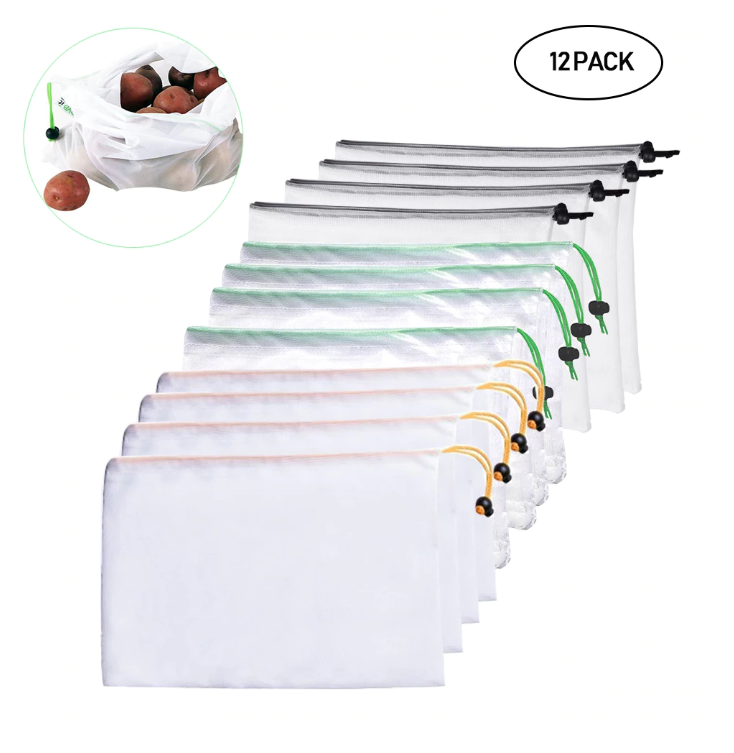 Reusable Mesh Produce Bags - 12Pack