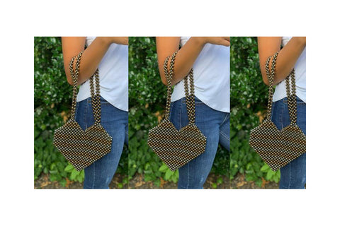 SUMMER GLAMOUR – TWO TONE BEADED SHOULDER BAG