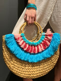 Straw Half Circle Tote- Multi