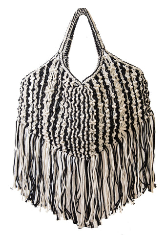 Cotton Macrame Fringe XL Tote Bag- Black & Natural