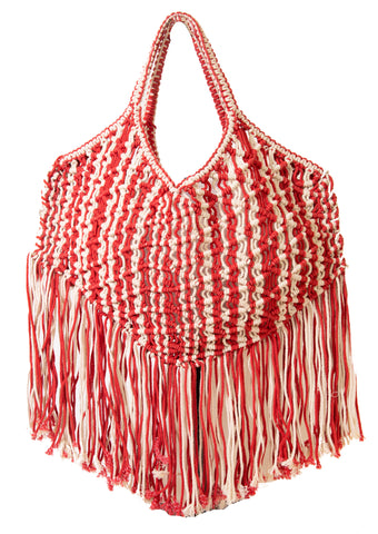 Cotton Macrame XL Tote Bag- Red & Natural