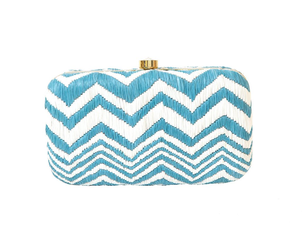 Chevron Blue Box Clutch