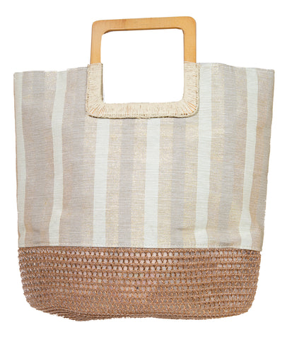 Stripe Tote Bag- Natural