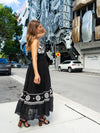 Callie Long Maxi Dress in Black with White Lace and Embroidery