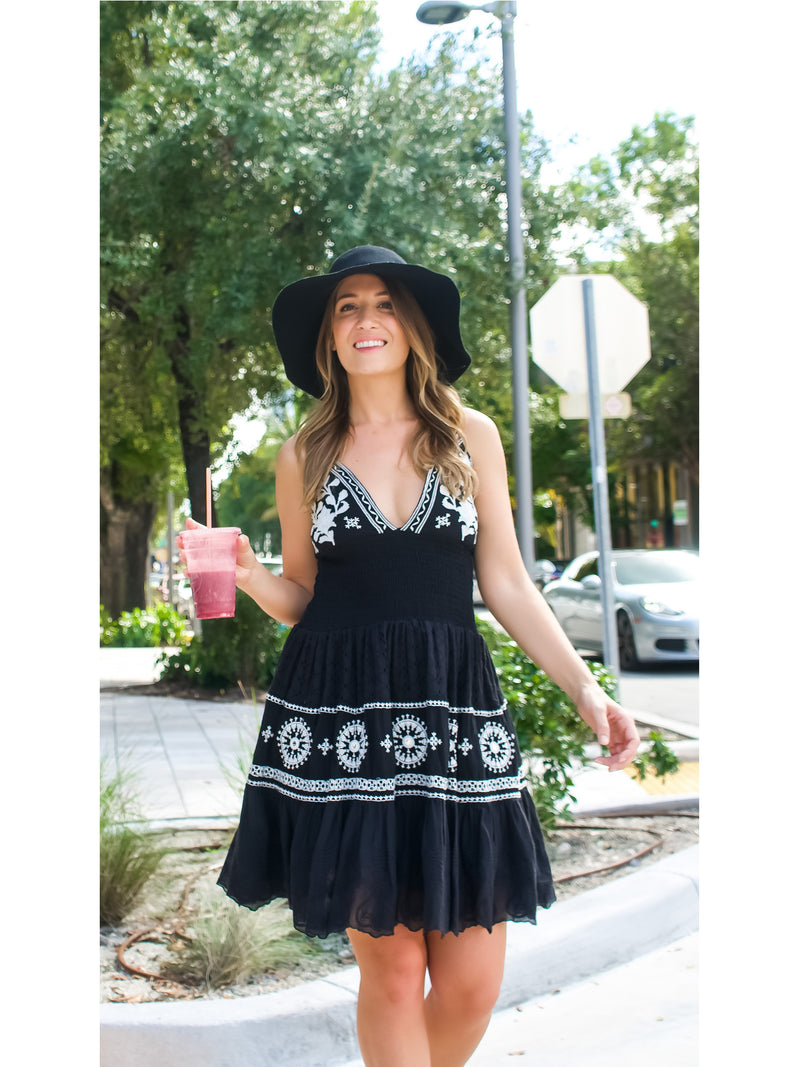 Callie Dress in Black with White Lace and Embroidery