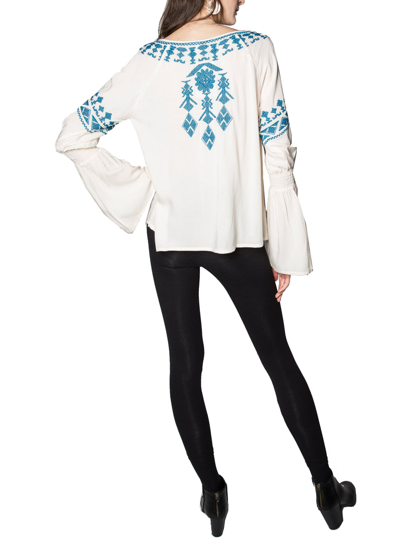 Minetta Embroidered Tunic Top in White
