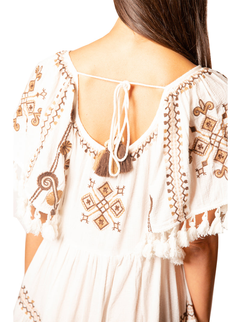 Mystique Tunic Dress in White/Brown