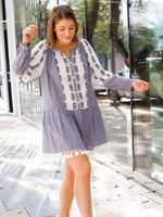 Sorrento Long sleeve Gingham Dress in White/Black