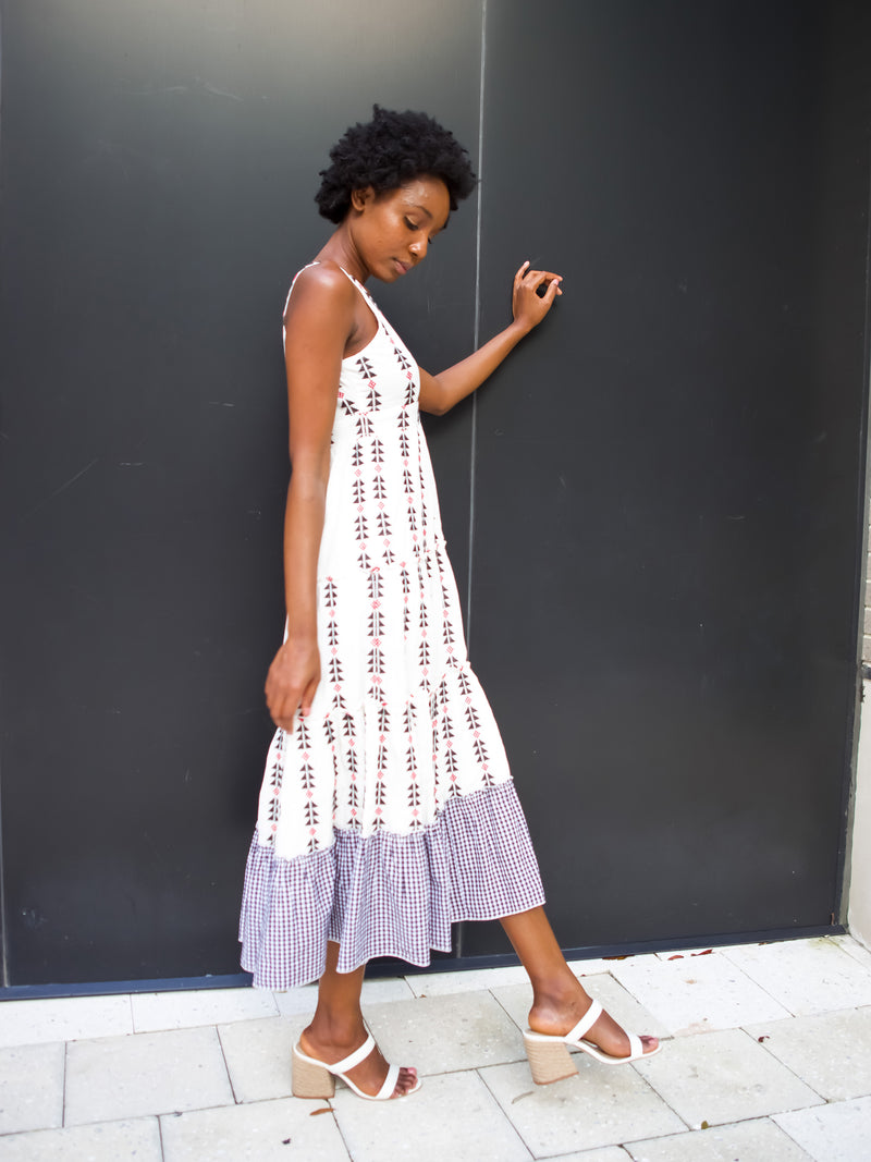 Sorrento Long Sundress in White/Black