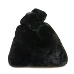 Double Handle Faux Fur Handbag in Black