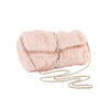 Faux Fur Half Flap Shoulder Bag in Pink