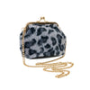 Kiss Lock Leopard Bag in Grey
