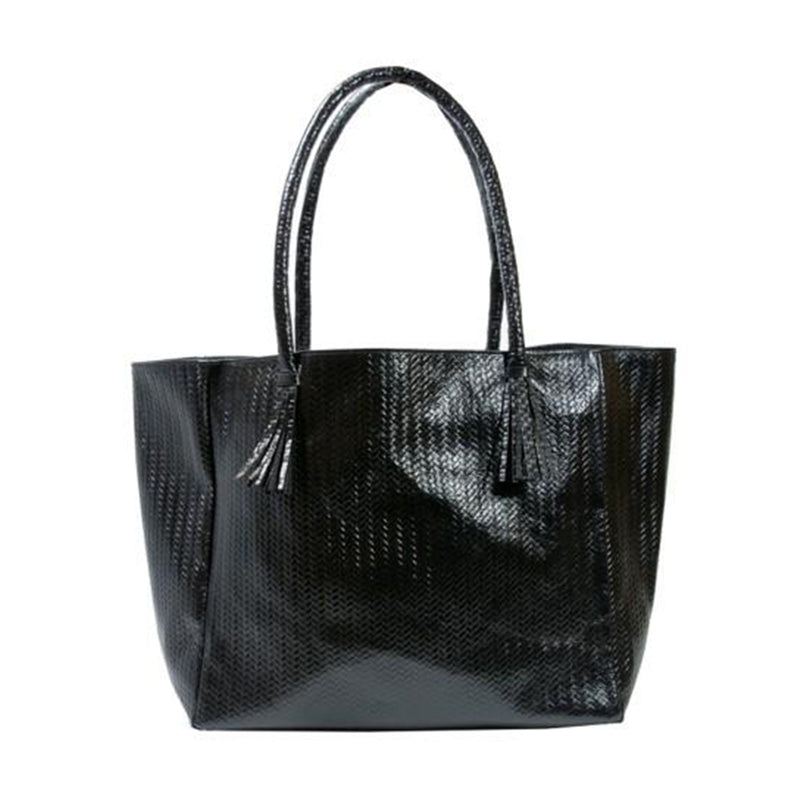 Bedford Tote Bag in Black Woven Leather