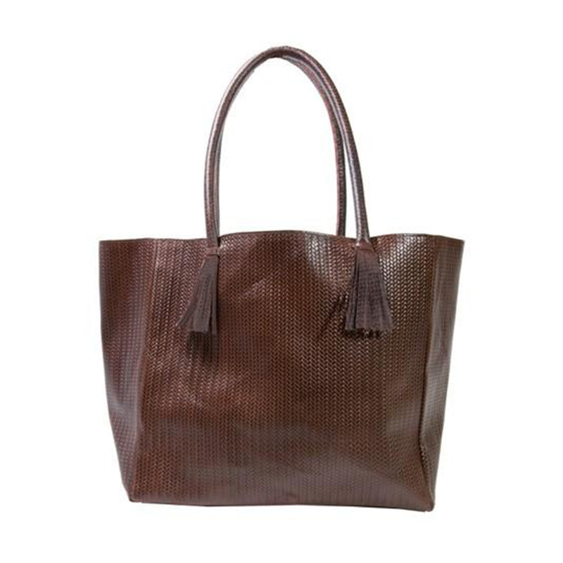 Bedford Tote Bag in Brown Woven Leather