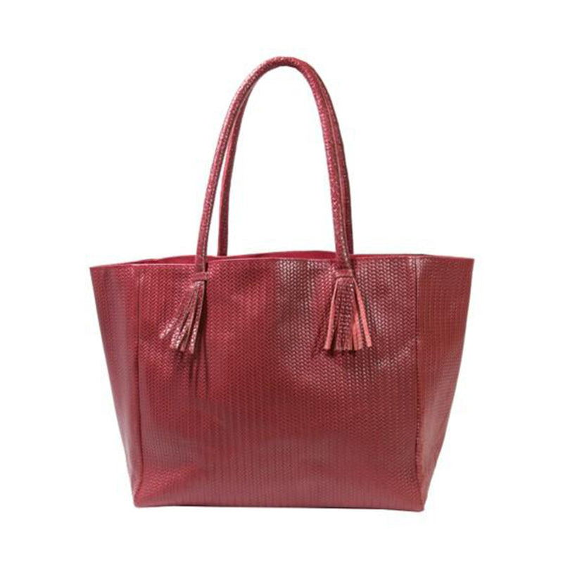 Bedford Tote Bag in Red Woven Leather