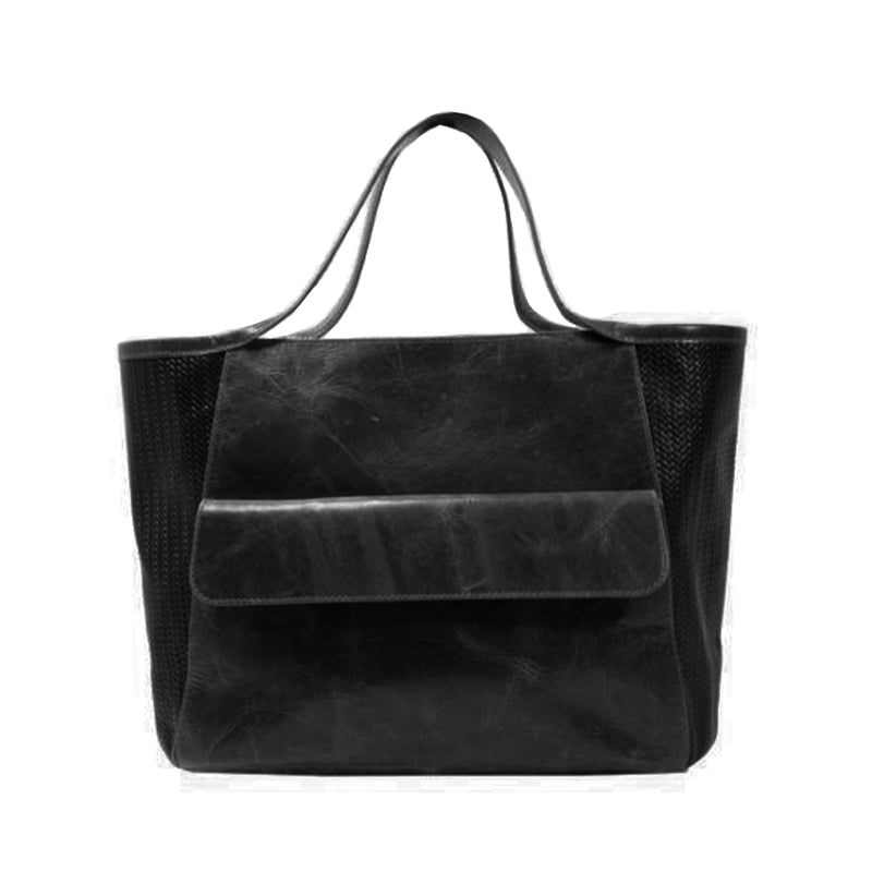 Varick Satchel Bag in Black Leather