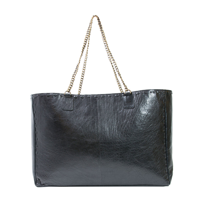 Wooster Tote Bag in Textured Black Leather