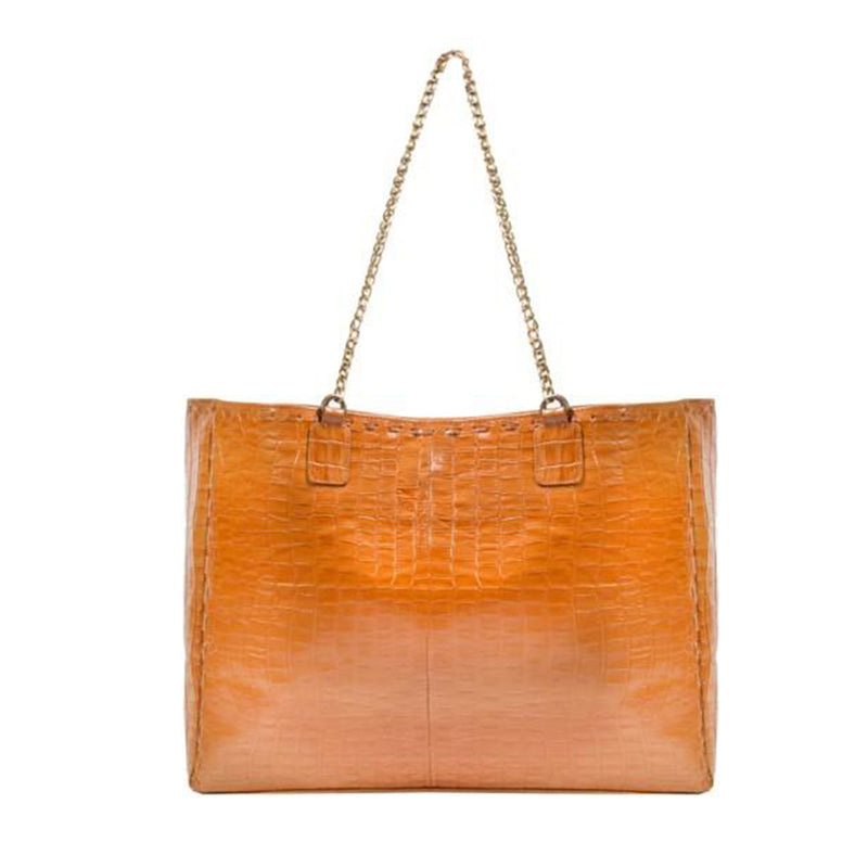 Wooster Tote Bag in Croc Honey Leather