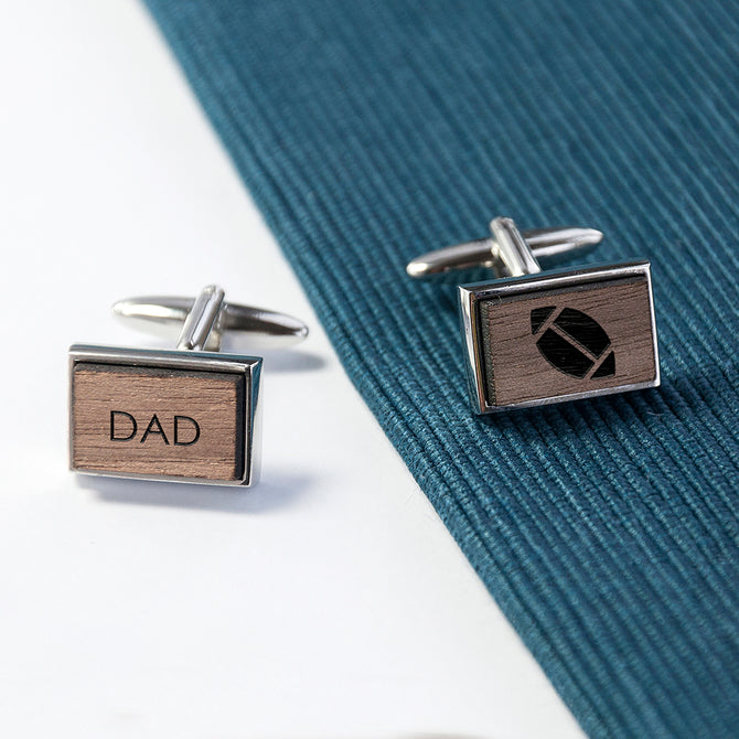 Iconic Hobbies Engraved Rectangle Walnut Cufflinks