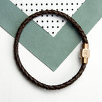 Personalised Men's Woven Leather Bracelet With Gold Clasp