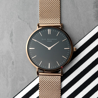 Personalised Ladies Rose Gold Mesh Strapped Watch With Black Dial