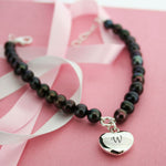 Personalised Pearl Bracelet With Heart Charm