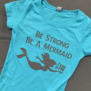 "Kid's ""Be a Mermaid"" Teal Tee"