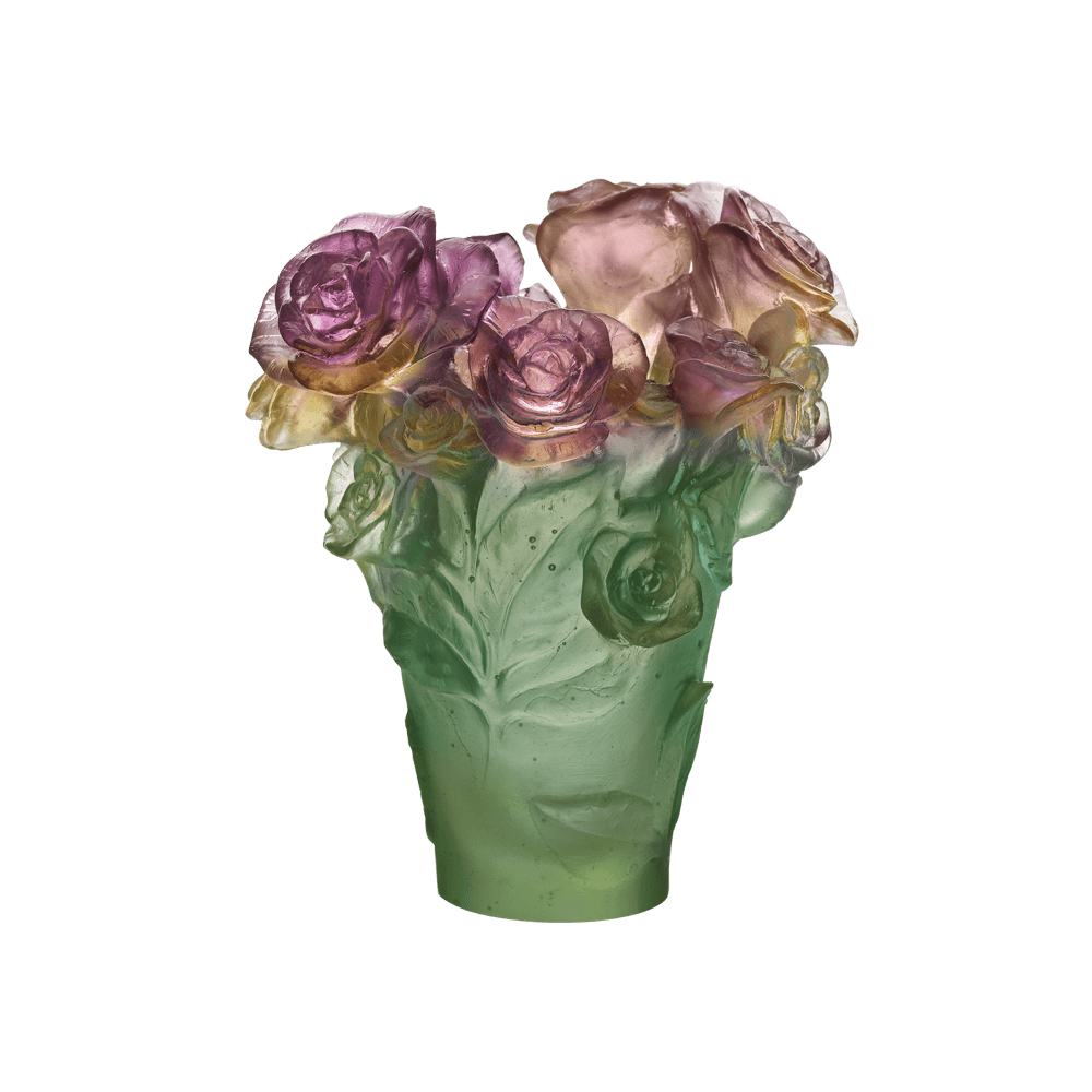 Small Rose Passion Vase in Green & Pink