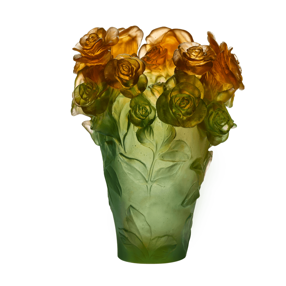 Green & orange vase Rose Passion