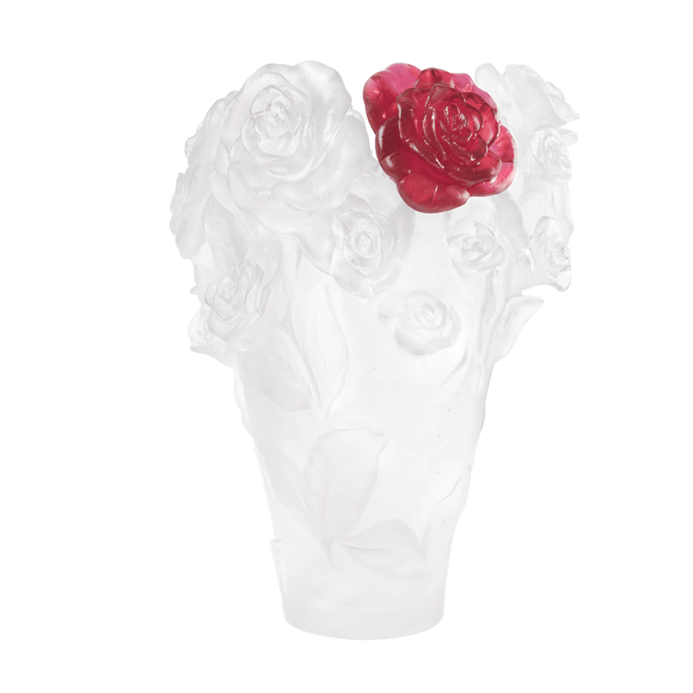 White vase & red flower Rose Passion 500 ex