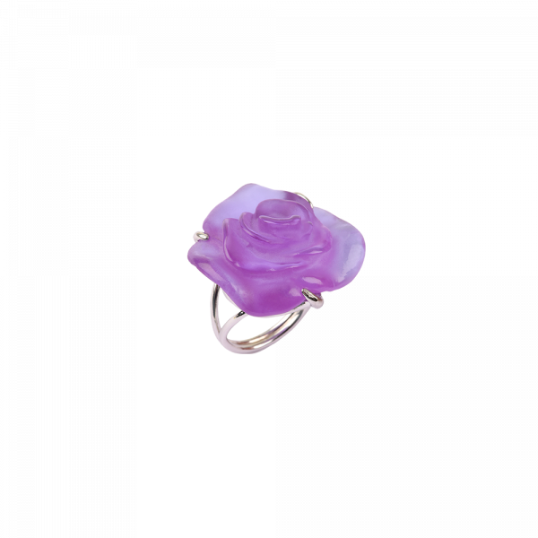 Rose Passion Crystal Ring in Ultraviolet/Silver