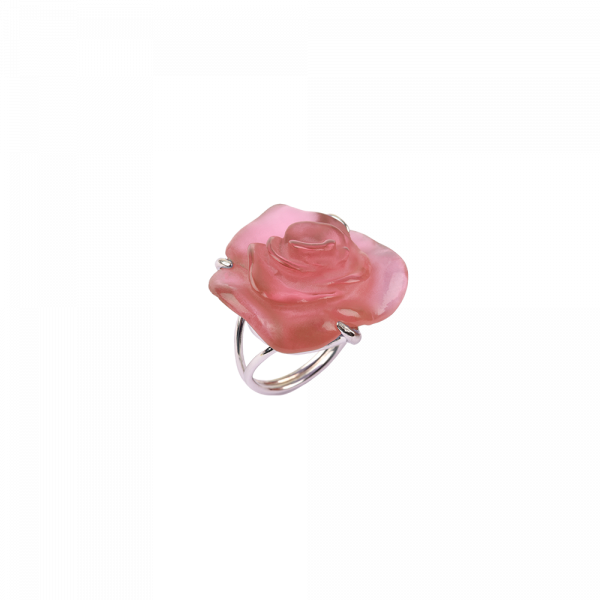 Pink crystal Silver Ring Rose Passion Jewelry