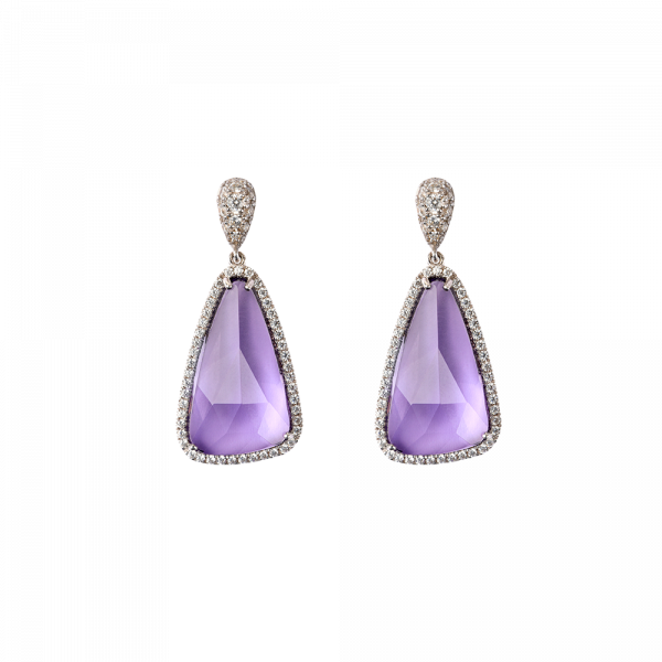 Violet crystal Earrings Eclat de Daum