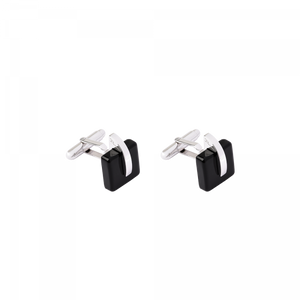 Eclipse Crystal Cufflinks in Black