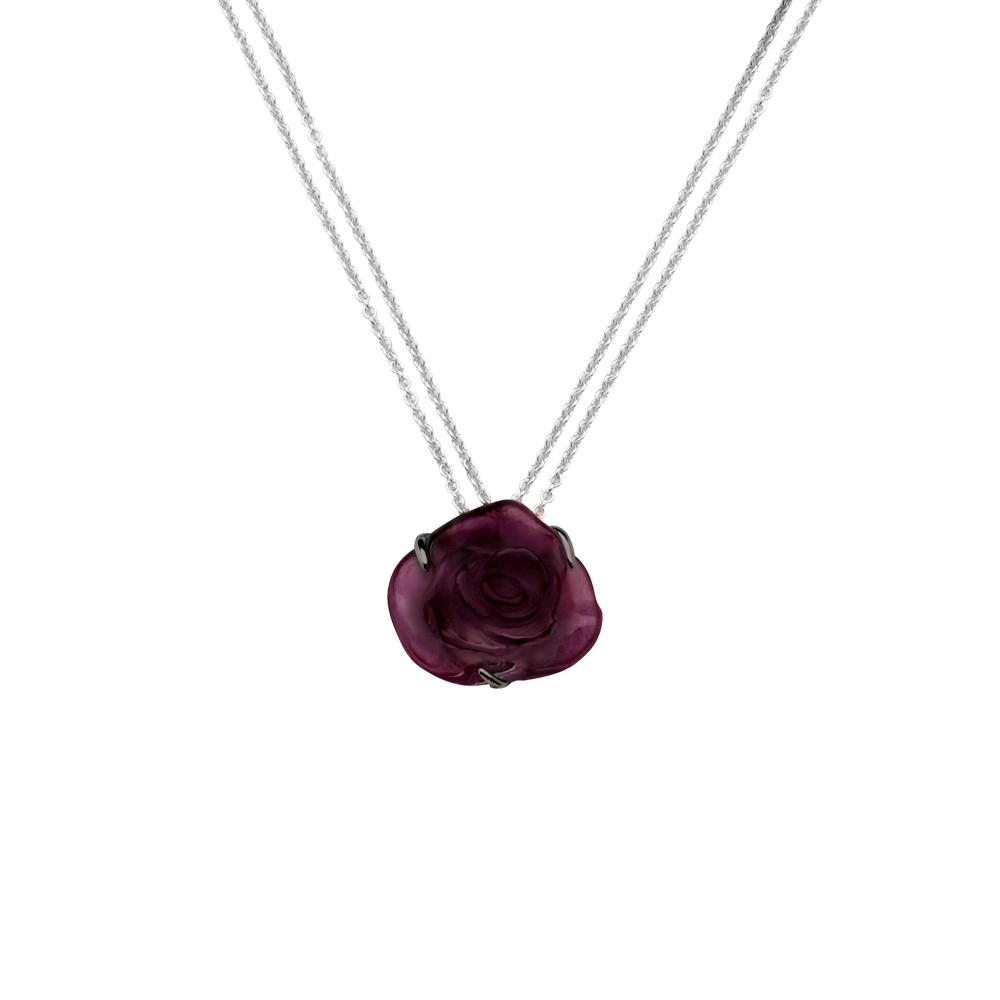 Rose Passion Crystal Necklace in Black