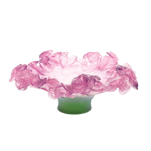 Roses Footed Bowl in Pink