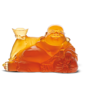 Happy Buddha in Amber
