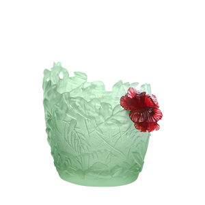 Medium Hibiscus Vase in Light Green & Red 225 ex