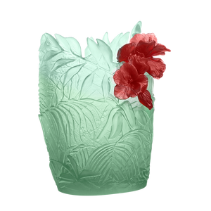Large Hibiscus Vase in Light Green & Red 99 ex