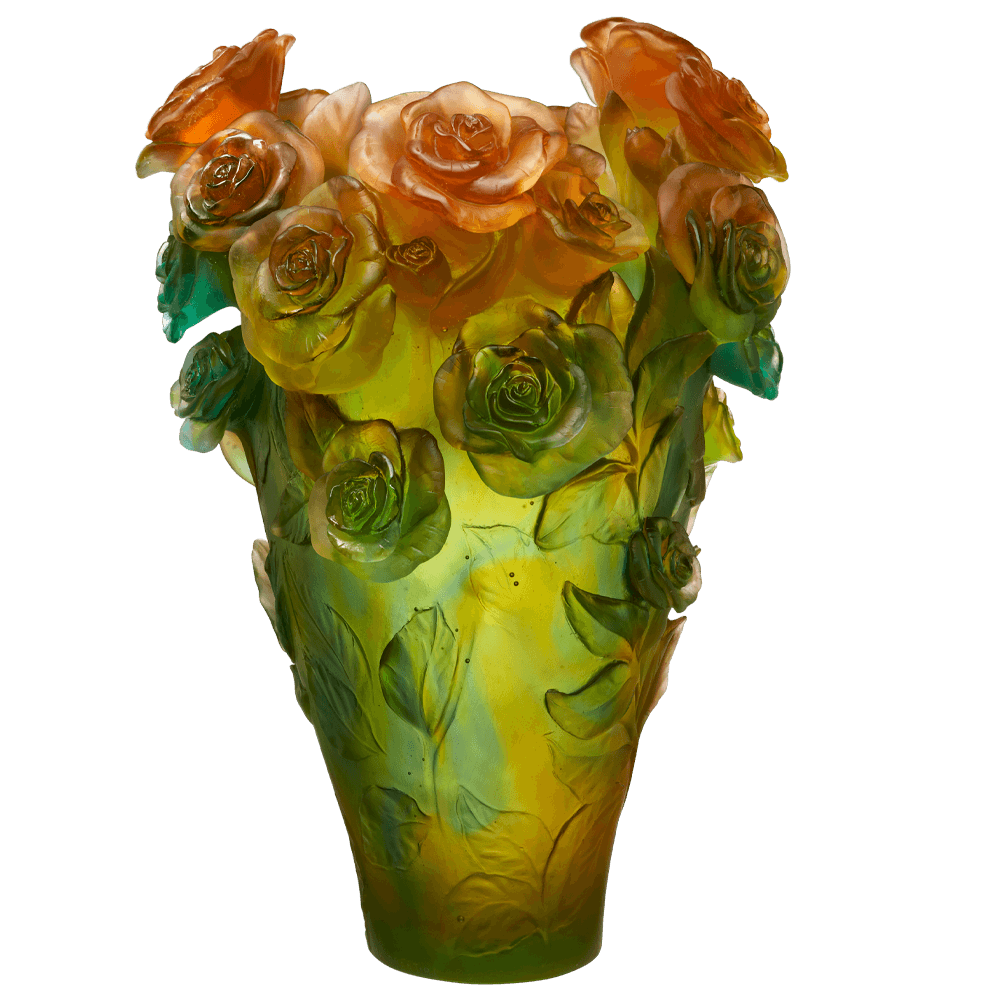Magnum Rose Passion Vase in Green & Orange 99 ex