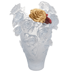 Magnum Rose Passion Vase in White with Red & Gold Flowers 50 ex