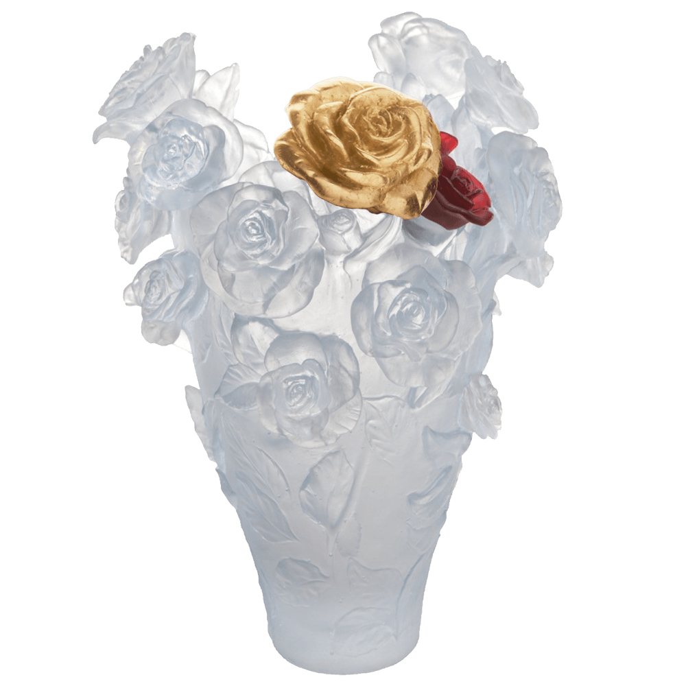White Magnum Vase with Red & Gold Bouquet Rose Passion 50 ex