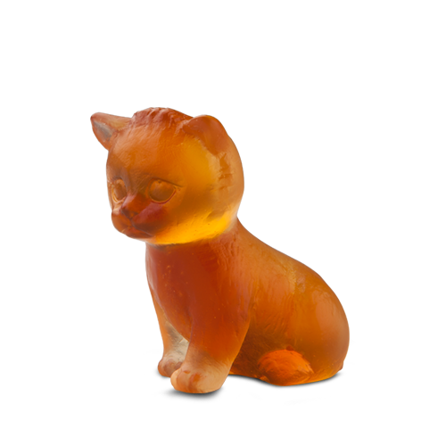 Mini Seated Kitten in Amber
