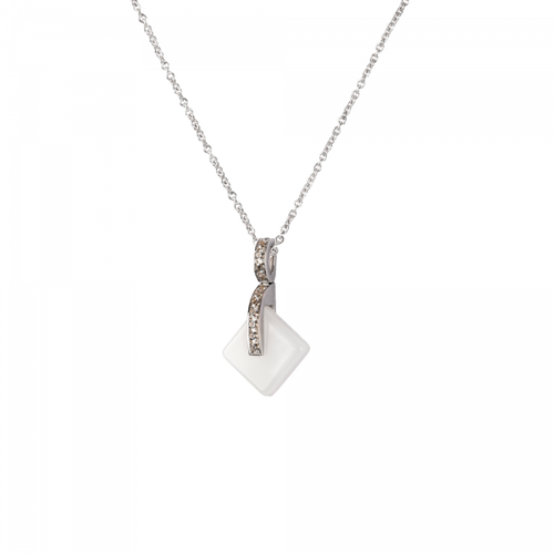 Eclipse Crystal Simple Pendant Necklace in White