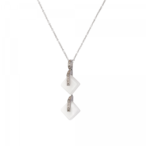 Eclipse Crystal Double Pendant Necklace in White