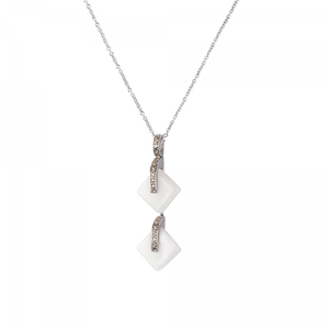 White Double crystal Pendant Eclipse