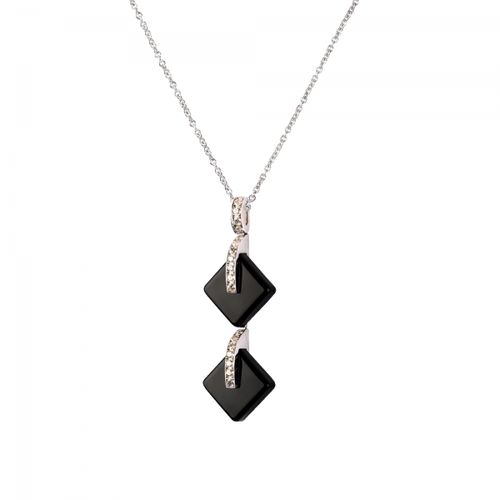 Black Double Crystal Eclipse Pendant Necklace