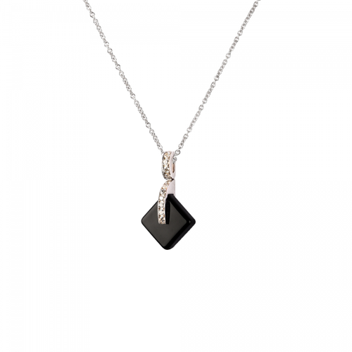 Eclipse Crystal Simple Pendant Necklace in Black