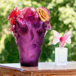 Rose Passion Vase in Red, Violet, & Gilded Flower